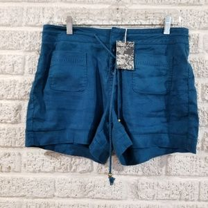 Anthropologie Level 99 Turquoise Linen Shorts